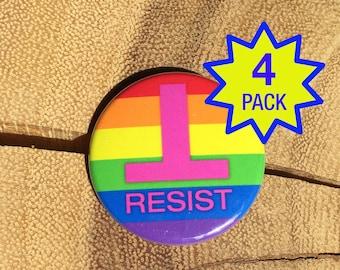 """Resist Anti-Trump LGBTQ+ Rainbow 1.5"""" Button Pin Brooch - 4-pack - Anti-Hate Anti-Far-Right - Falsum - Inverted T - Upside Down T"""