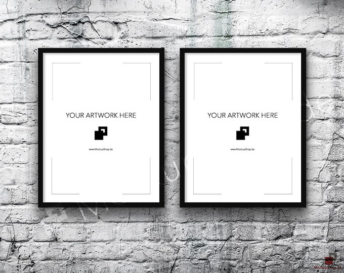 11x14 Set of 2 FRAME MOCKUP BLACK / Poster Mockup, old brick grey wall, Framed Art, Instant Download / Frame Mockup