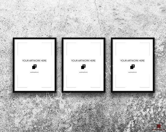 11x14 FRAME MOCKUP BLACK Set of 3 / Poster Mockup, old white stone wall Background, Framed Art, Instant Download / Frame Mockup