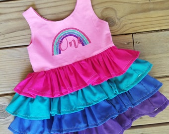 1st birthday outfit, Pink rainbow 1st birthday ruffle dress, 1st birthday pink rainbow ruffle dress
