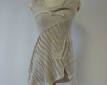 Exceptional natural Summer top, S size. Made of pure linen.