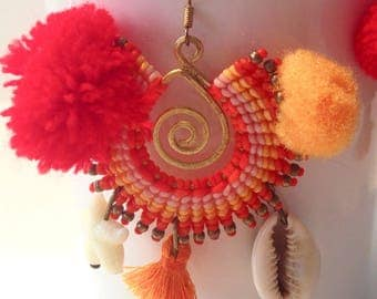 Earrings Orange macrame