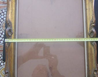 1890 Art Nouveau Vintage Wooden frame moldings chiseled superb support for canvas master or contemporary sold With or without its glass ?