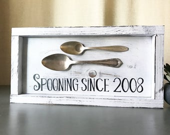 Spooning since sign, home decor, rustic home decor, wedding gift, wall-art, custom year wood sign, anniversary gift, farmhouse decor, rustic