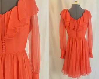 Small ** 1960s SALMON chiffon sheer sleeve dress ** vintage sixties pink Miss Elliette dress