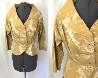 Medium ** 1950s LILLI DIAMOND gold brocade blazer ** vintage fifties designer jacket