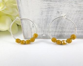 Silver Hoop Earrings, Mustard earrings, Simple hoop earrings, Silver filled earrings, Yellow earrings, Toffee colored earrings