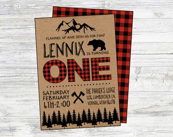 Lumberjack Birthday Invitation. Digital, Personalized Invitation Great for Lumberjack, Mountain, Winter, Bear Birthday Party. First Birthday