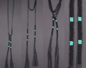 Leather choker. Leather lariat. Leather necklace. Black choker. Native American inspired. Tassel necklace. Black lariat. Turquoise beading