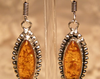 Sterling Silver Honey Baltic Amber Earrings with Beaded Bezel and Fish Hook Ear Wire
