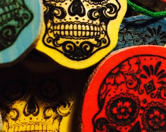 34 Day of the Dead Christmas Tree Ornaments Sugar Skull Laser-engraved! Upcycled Wood!!