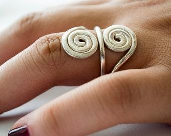 Sterling Silver Ring for Women, Swirl Ring