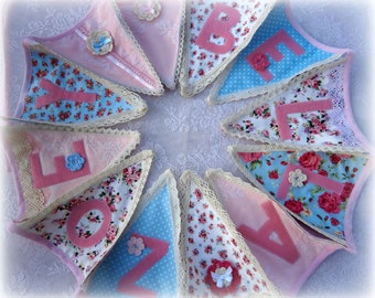 Personalized Lace Bunting Blue/pink Vintage Theme/Lace/Baby Girls bunting/Baby Shower/Nursery Decor/Christening Naming ceremony/Gift Idea