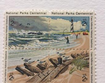12 vintage 2c US postage stamps - 1972 National Parks Centennial - Cape Hatteras Seashore - ocean, beach
