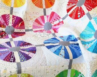 Piccadilly Circle quilt pattern - Sassafras Lane Designs - modern circle quilt, paper piecing pattern, scrap quilt, rainbow quilt