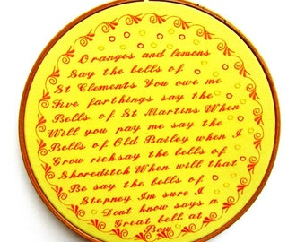 Traditional English London Nursery Rhyme Embroidery Wall Art Hoop: Oranges and Lemons Song embroidered hoop art.
