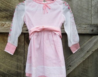 Adorable vintage Ruth of Carolina child's dress pink ginham embroidery sheer overlay