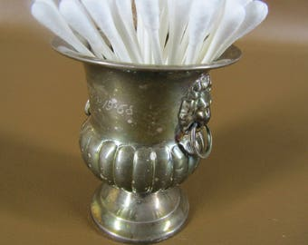 Miniature silver plate wine bucket with lion heads monogrammed
