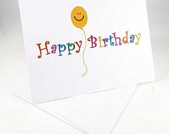18 Happy Birthday & Smiley Face Balloon Cards - Blank Gift Birthday Cards - Boxed Set - 14298a