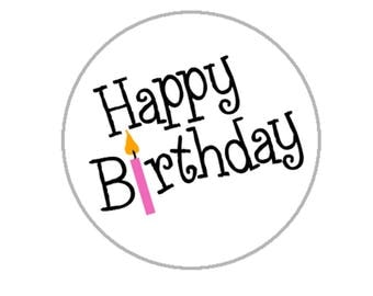 "Happy Birthday Envelope Seals - 1.2"" Happy Birthday Stickers -96 Stickers - 25110"