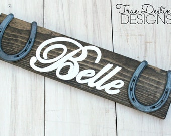 Personalized Wood Horseshoe Sign - Stable Stall Signs - Horse Name Sign - Font F, rustic, barn wood, cabin, country, True Destiny, TDD19