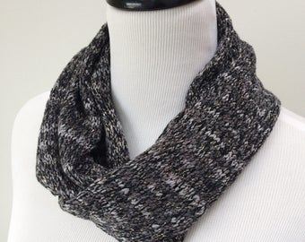 Gray Infinity Scarf, Wool-Free Scarf, Knitted Gray Scarf, Gray Circle Scarf, Metallic Gold Scarf, Lightweight Scarf, Loop Scarf, ON SALE