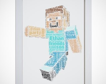 Personalised Minecraft Steve Framed Word Art Cloud Picture Print Boys Birthday Gift