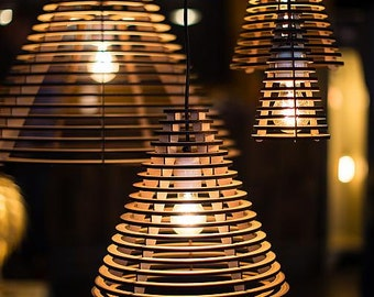 No. 28 pendant light Cone-laser cut MDF Dutch Design lighting in 4 formats