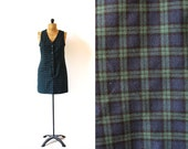 vintage jumper 90's dress plaid navy blue green preppy 1990's women's clothing size small s