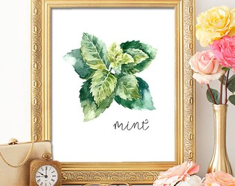 75% OFF SALE - Herbs Mint - 8x10 - Printable Art, Digital Download, Wall Art, Kitchen Art, Home Decor, Herb Art, Herb Prints, Herb Wall Art