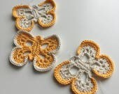ON SALE. Yellow and cream butterfly string. Crochet butterfly home decor. Yellow butterfly mobile.