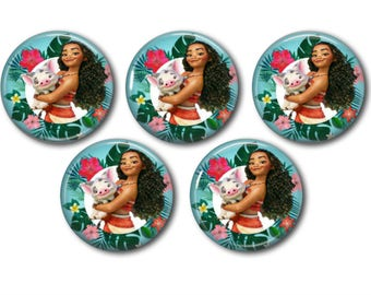 5 Disney Princess Moana CABOCHONS | EPOXY STICKERS Bottle Caps Hair Bows Scrapbooking Jewelry Magnets Crafts