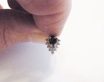 Vintage Stud Earrings with Simulated Sapphire and Cubic Zirconia Diamonds in 14K Gold Setting