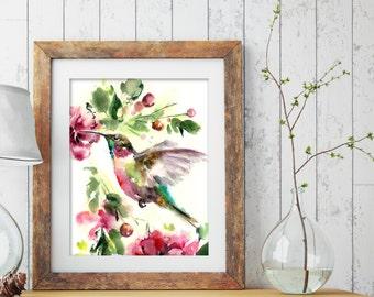 Hummingbird painting, Art Print from watercolor painting of bird, pink green wall art, bird art