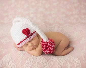 Valentines photo prop, baby valentines hat, newborn  photo prop