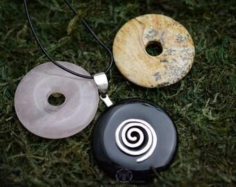 Gemstone Spiral Necklace Set