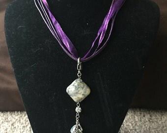 Purple Ribbon Necklace with Square Rock Pendant