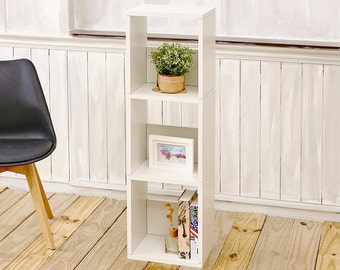 Eco Friendly 3 Shelf Narrow Small Bookcase in Pearl White made from non-toxic, formaldehyde free zBoard paperboard (WB-3NC-WE)