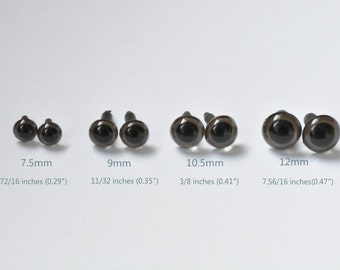 Dark Brown Eyes / Amigurumi Animals Eyes / Safety Eyes Come With Washers/ 7.5mm,9mm,10.5mm And 12mm- 10pcs A Pack