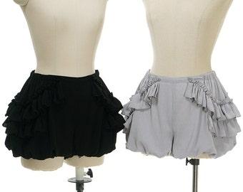 Gothic Vintage Bloomers, Swing Ruffled Shorts Black/Grey Lolita Fashion