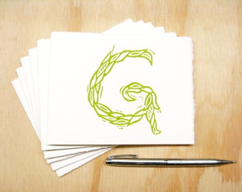 Green Letter G Stationery - Personalized Gift - Set of 6 Block Printed Cards - READY TO SHIP