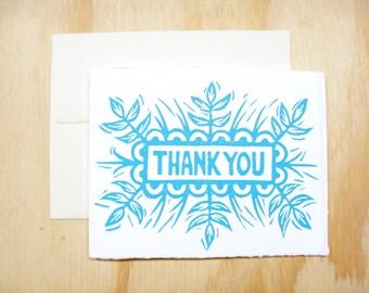 Single Card - Sky Blue Thank You Card - 1 Block Printed Card