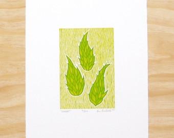"Woodcut Print - ""Wheat"" - Green Hops Plant - Art Printmaking"