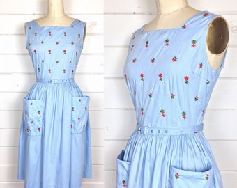 Vintage 1950s Blue Cotton Floral Sundress / Day Dress / Embroidered / Matching Belt