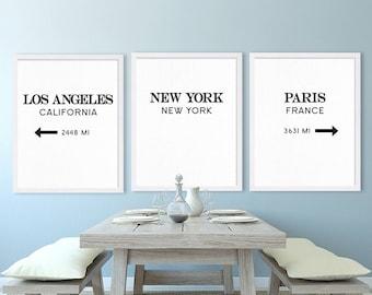 City Art Prints New York City Art Los Angeles Print Paris Art Living Room Decor House
