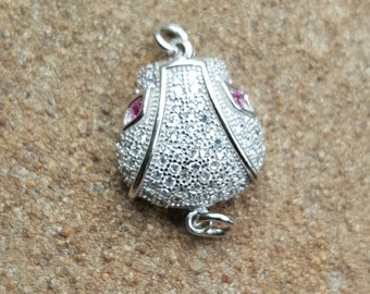 Sterling Silver and Rhinestone Snake Head Clasp 18mm x 13mm - 1 Piece