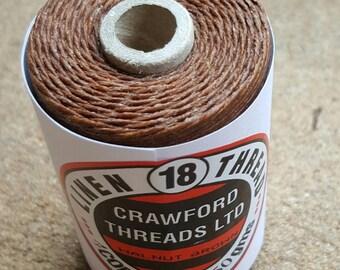 Crawford Waxed Linen Thread 4 Ply (0.8mm), 50 Gram Spool - Walnut Brown