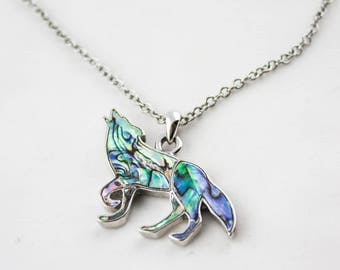 Vintage Silver Tone Chain Paua Shell Wolf Pendant Necklace