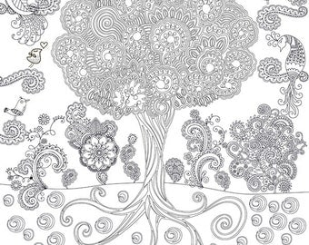 """Coloring poster """"Tree"""" size 60*60cm"""