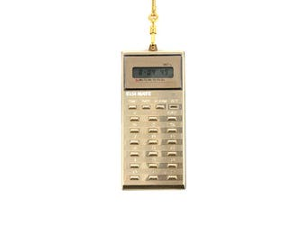 Vintage Mini Hanging Gold Calculator